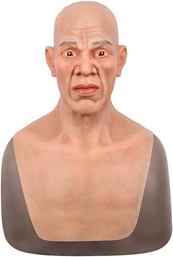 precios al por mayor SZANDY Máscara de Silicona Silicona Silicona Realista de Halloween Old Man Headgear Disfraz Latex Party Full Face Máscaras Crossdresser para Adultos Apoyos Cosplay (No Beard)  se descuenta