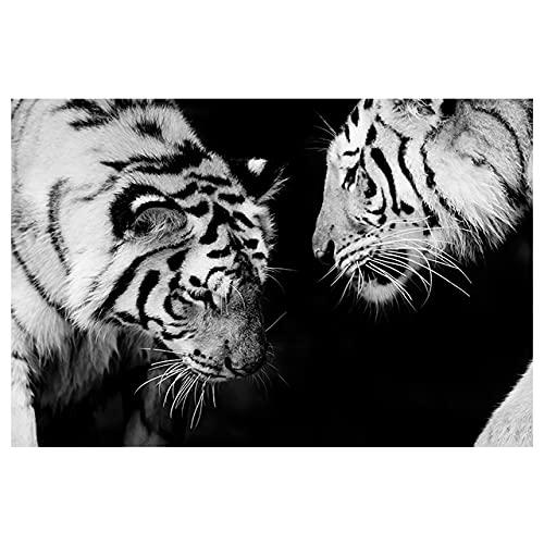 WQHLSH Moderno Negro Blanco Animal Tiger Lienzo Pintura Arte de la Pared Decoración Pósteres Nordic Impresiones Fotos Living Home Hotel Habitación Decoración 24x32inchx1 Sin Marco