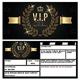 V.I.P EINLADUNG Kartenset XL (24 Stück) Premium Einladungskarten zum Ausfüllen - edel in Schwarz & Gold ideal für VIP Party, Silvester, Einweihung, Kinder-Geburtstag für Jungen, Mädchen & Erwachsene - 3