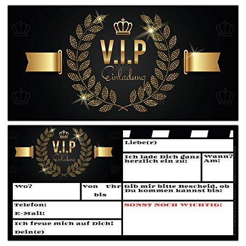 14er Karten-Set VIP EINLADUNG Premium Einladungskarten zum Ausfüllen - edel in Schwarz & Gold ideal für V.I.P. Party, Silvester-Party, Einweihung, Kinder-Geburtstag für Jungen, Mädchen & Erwachsene