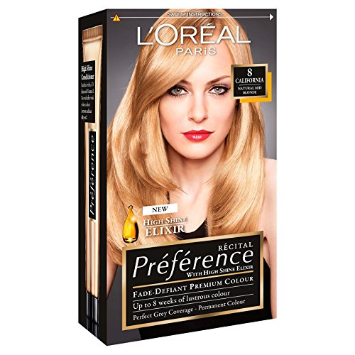 3 x L'Oreal Paris Recital Preference Permanent Colour 8 California Natural Mid Blonde