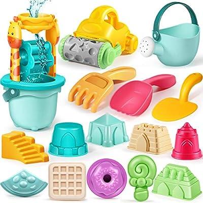 Geyiie Kids Beach Sand Toys Set , 22pcs Sandbox Toys with Giraffe Waterwheel,Beach Buggy, Sand Molds, Beach Bucket, Shovel Rake Tool Kit and a Storage Bag, Fun Sand Toys for Toddlers Kids Outdoor Play