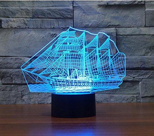 YJH + 3D kleine tafellamp, creatieve LED verjaardagscadeau zeilboot lamp zeven kleuren touch visuele verlichting huwelijk USB plug in Valentijnsdag tafellamp touch switch mooi en royaal, 217*160*87mm