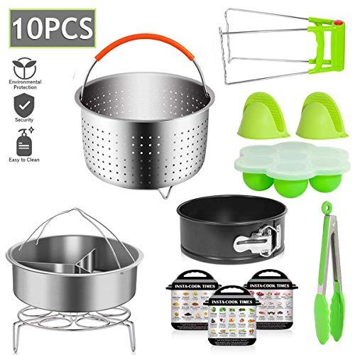 Benooa Zubehör für Instant Pot 13 PCS Schnellkochtopf Zubehör Set für Dampfkochtopf Dampfgarer Korb,Stapelbare Edelstahl Dampfgarer Einsatzpfannen,Energieklasse A +