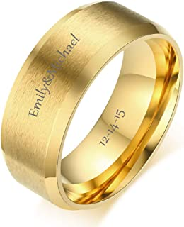 Free Engraving Personalized Custom 8MM Stainless Steel Plain Band Ring for Men,Black/Gold Plated/Silver