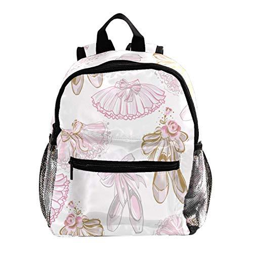 Mochila de niño Zapatillas de ballet con falda rosa Mochila con motivo estampado mochila para escuela primaria mochila para niña mochila ligera para niños correa ajustable para el hombro 25.4x10x30 CM