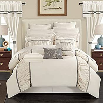 Chic Home CS3135-AN Mayan 24 Piece Bed in a Bag Comforter Set King Off-White