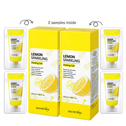 SECRET KEY Lemon Sparkling Peeling Gel 4.05 fl.0z.(120ml) 2pcs + 4 Mini Peeling Gel - Vitamin C Lemon Water and Sparkling Water Skin Purifying Exfoliater, Removes Dead Cells, Sebum Clear Pore Care
