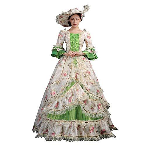 1700er Rokokoko-Kleid Marie Antoinette Renaissance Kleid Ballkleid Viktorianischen Märchen Brokatkleid Ballkleid (L, Rokokoko-Grün)