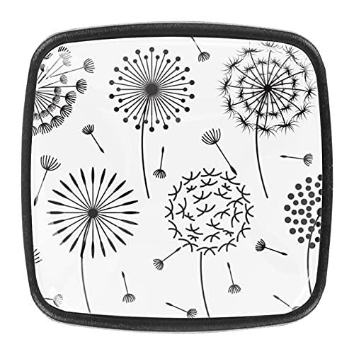 4 pomos cuadrados para gabinetes de coche, gabinetes de cocina o palancas de cajón dibujados a mano, simple diente de león blanco y negro