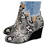 NOLDARES Boots for Women Low Heel Ankle Boots V Cutout Winter Warm Stacked Chunky Heel Comfortable Platform Short Booties