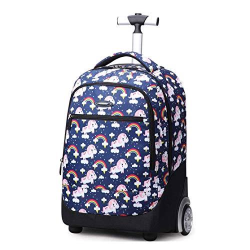 YONG Trolley, 2In1 Zaino con Sollevamento 2 Ruote Spallacci per Uso Trolley,Bambini E Adolescenti,Scuola & Viaggio,Color,2 Wheels