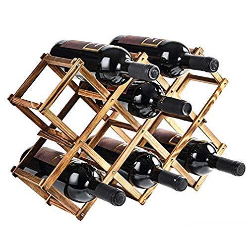 Cremagliera del vino 10 bottiglie di vino in legno rack tavoli e sedie stand-alone o contatori moderno design minimalista facile da montare vino dolce e secco per piccola famiglia bar Non è necessario