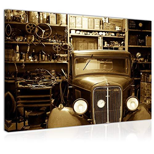 Topquadro Wandbild, Leinwandbild 70x50cm, Oldtimer Wagen, Retro und Vintage, Garage - Keilrahmenbild, Bild auf Leinwand - Einteilig