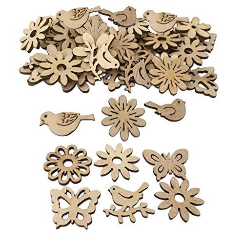 Baosity 100x Copo de Nieve de Madera Formas de Flores Adornos de álbum de Recortes Decoraciones de Manualidades de Bricolaje - Flores