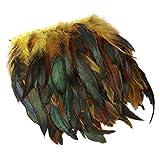 Healifty adorno de flecos de plumas de gallo para decoración artesanal de sombreros de bricolaje 5m amarillo