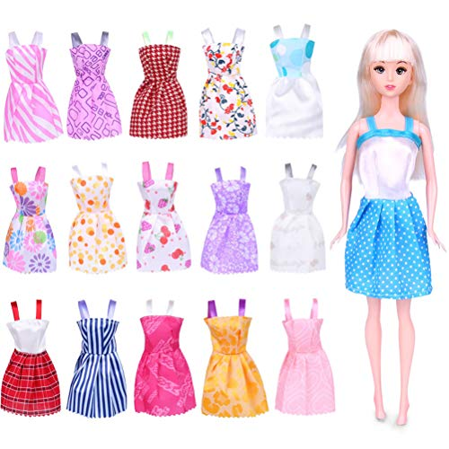 AIJIANG Clothes for Doll,16pcs/set Hand-made Dress Doll Clothes Set Funny Fashion Doll Accessories