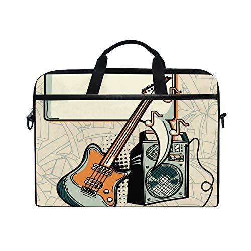VICAFUCI Nuevo Bolso para portátil de 15-15.4 Pulgadas,Diseño de música - Amplificador de Guitarra y Bocadillo
