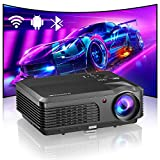 WiFi Bluetooth Movie Projector Wireless Outdoor Full HD 1080P LCD Home Theater Video Projector with Screen Mirroring Airplay Digital Zoom for Android Smart Phone TV Stick USB Laptop Tablet HDMI VGA AV