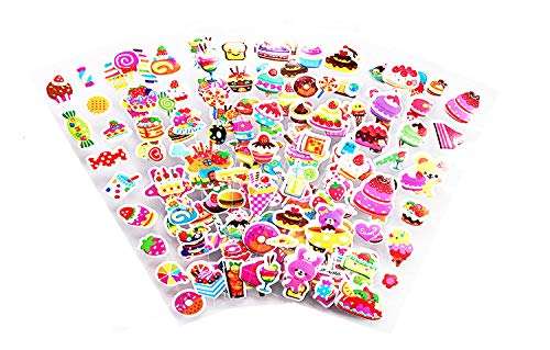 12 sheets/pack cake ice cream candy food pattern sticker for kids toy cartoon 3D stickers Children scrapbooking DIY toys