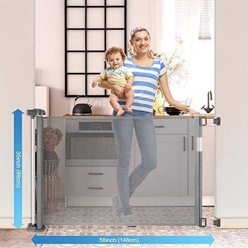 Retractable Baby Gate 58' Space Efficient Mesh Design Pet Gate with 2 Sets of Mounting Hardware Indoor & Outdoor Baby Gate Extra Wide Dog Gates for Doorways, Stairways, Hallways, Banisters and More
