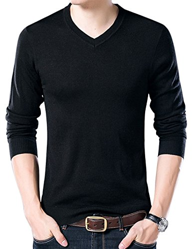 Yeokou Men's Casual Slim V Neck Winter Wool Cashmere Pullover Jumper Sweater,Black,Large