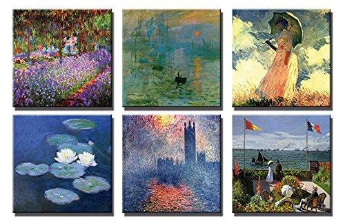 Time4art Claude Monet Print Canvas 6 Bild 6 x 30x30cm Leinwand auf Keilrahmen - Die Terrasse von Sainte-Adress, Parlament Themse, Der Garten des Künstlers in Giverny, Impression Sonnenaufgang, Frau mit Sonnenschirm, Wasserlilien Seerosen