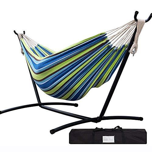 Hängematte, höhenverstellbar, abnehmbar, tragbar, für Innen- und Außenbereich, für 2 Personen, für Strand, Hof etc.