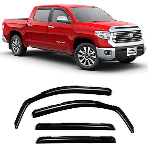 Voron Glass in-Channel Extra Durable Rain Guards for Trucks Toyota Tundra 2007-2020 CrewMax, Window Deflectors, Vent Window Visors, 4 Pieces - 220083