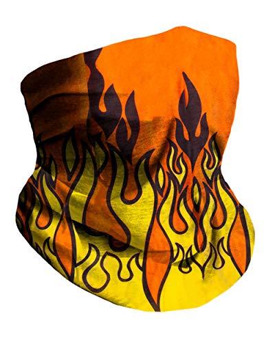 Orange Flame Breathable Neck Gaiter Masks Half Face Cover Wrap Cool Mask Bandana Festival Rave Balaclava Scarf INTO THE AM