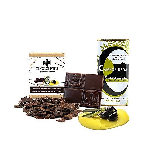 Tableta de chocolate negro con AOVE y flor de sal 75gr