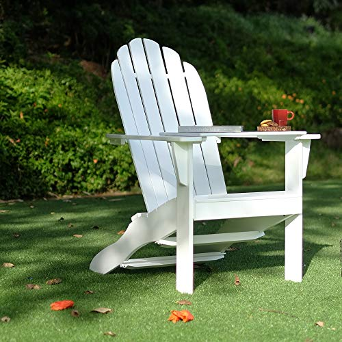 Cambridge Casual Solid Wood Bentley Adirondack Chair with Free Tray Table, Brilliant White