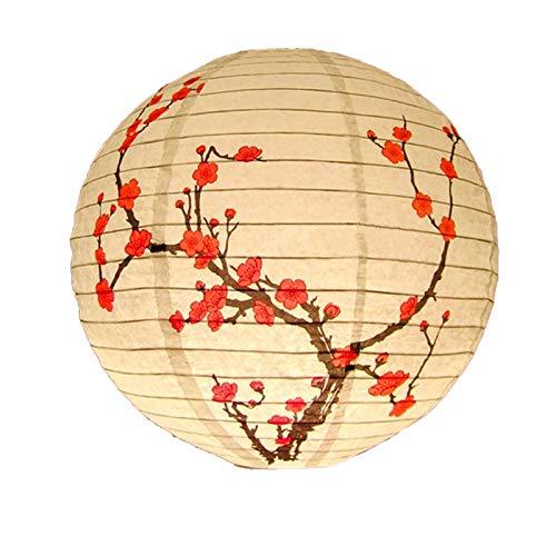 bobeini 30cm Linterna de Papel Redonda Pantalla Estilo Chino luz Restaurante decoración del hogar B.