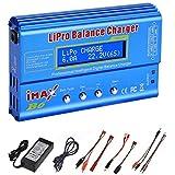 ICQUANZX LiPo/Li-ion/Life バッテリー(1-6S)、NiMH/NiCd(1-15S)用80W 6A Lipoバッテリーバランス充電器ディスチャージャー、Rc趣味バッテリーバランス充電器LED W/AC電源アダプター(B6-ブルー)
