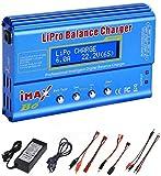 Ampia compatibilità del tipo di batteria: questo caricabatterie per bilanciamento con microprocessore ad alte prestazioni può caricare e scaricare una varietà di batterie come batterie NiMH / NiCD da 1,2 V-18 V (1-15 celle), batterie LiPo / Li-ion da...