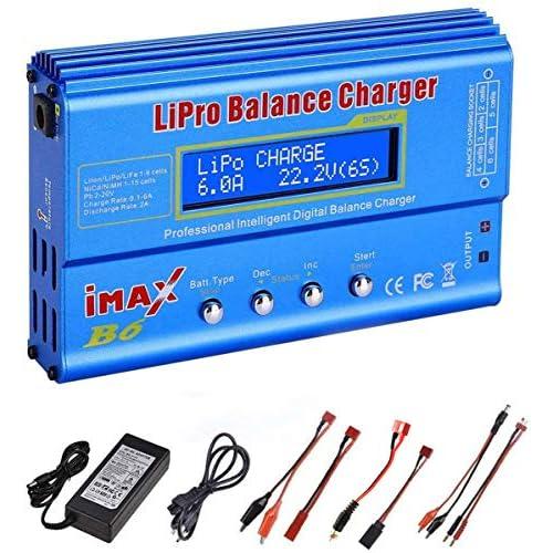 Caricabatterie Lipo, ZHITING 80W 6A Caricabatterie caricabatterie bilanciamento batteria Lipo per batteria LiPo/Li-ion/Vita (1-6S), NiMH/NiCd (1-15S), LED caricabatterie bilanciamento