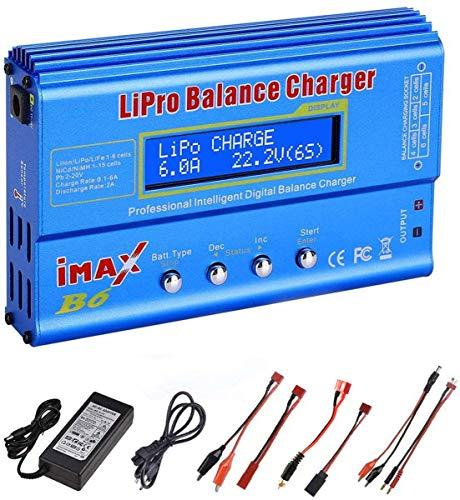 Lipo-Ladegerät, RUIZHI 80W 6A Lipo-Ladegerät für LiPo/Li-Ion/Life (1-6S), NiMH/NiCd (1-15S), RC-Hobby-Ladegerät LED mit Netzteil (Blau)