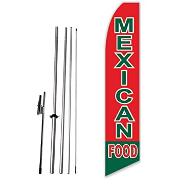 menudo Home Style Cooking Open King Swooper Feather Flag Sign Kit with Pole and Ground Spike Pack of 3