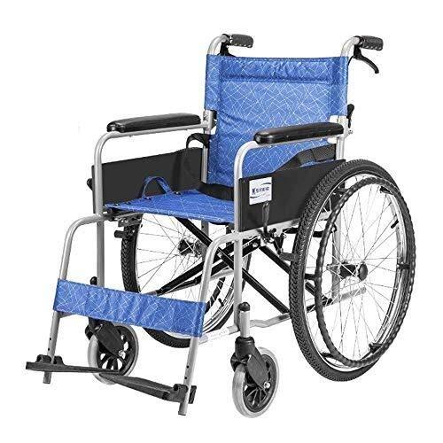 HJH- faltbaren Rollstuhl mit Selbstantrieb - Rollstuhl for Behinderte und ältere Menschen - Abnehmbarer Arm und Fußstützen - Sicherheitsgurt