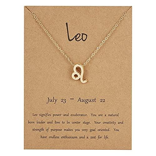 Collar con signo de estrella del zodiaco de Leo, collar de signo de estrella del zodiaco para hombres y mujeres