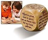 Large Wooden 2 1/4' Diameter Christian Mealtime Prayers Prayer Cube