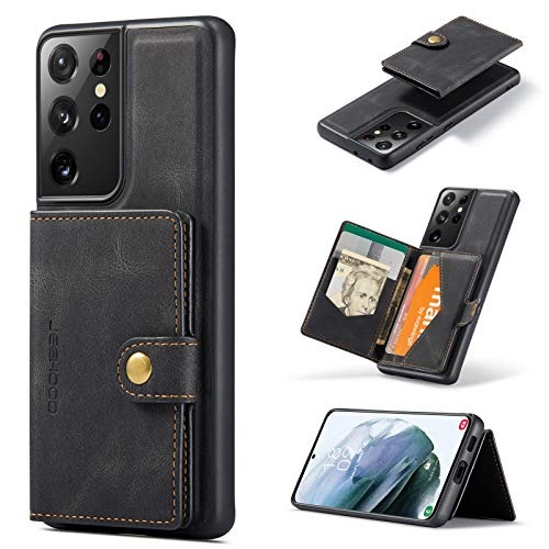 HERCN Funda para Samsung Galaxy S21 Ultra 5G 6.8';Tecnología MagSafe -Tarjetero extraíble -Pata de Cabra -Cubierta Funcional para teléfono Celular con Billetera pequeña magnética única (Negro)