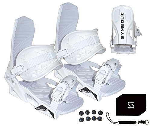 Symbolic Custom-Flow White Snowboard Bindings & Leash & Stomp Pad Medium (White, Medium Mens (Fits 5-8.5))