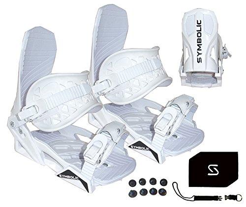 Symbolic Custom-Flow White Snowboard Bindings & Leash & Stomp Pad Women's Small (White-Women's, Small Women's (Fit 5-7))