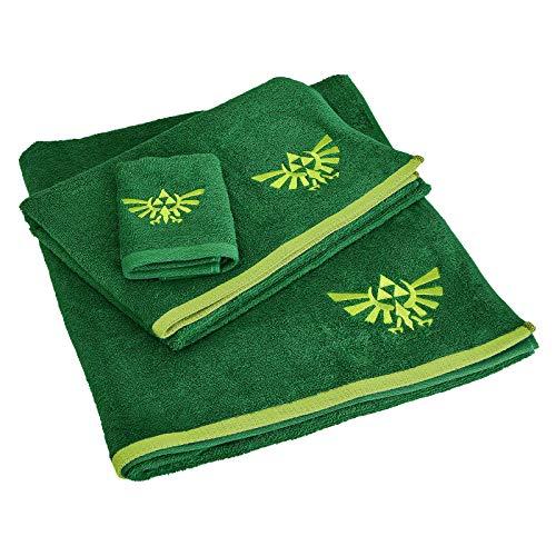Elbenwald The Legend of Zelda Handtücher mit Waschlappen 3er Set Hyrule Logo Bestickung Baumwolle grün