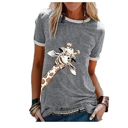 N\P Jirafa Gráfico Camisetas Mujeres Casual Lindo O Cuello Manga Corta Preciosas Camisetas Señora Ropa - gris - 5X-Large