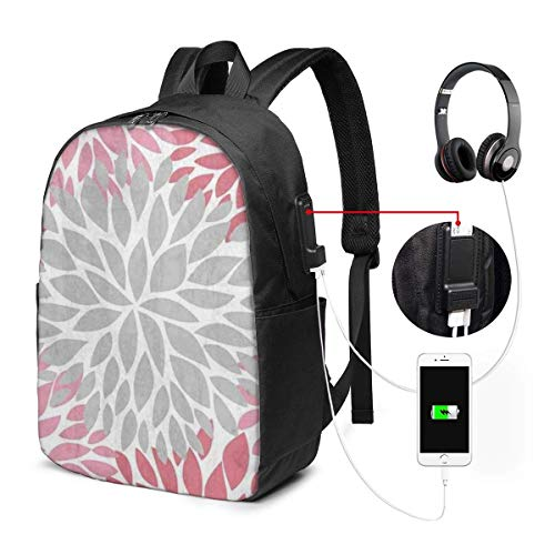 Lawenp Laptop Backpack,17 Inch College School Backpack with USB Charging Port, Casual Daypack for Travel (Dahlia Pinnata Flower Gray and Gradient Pink)