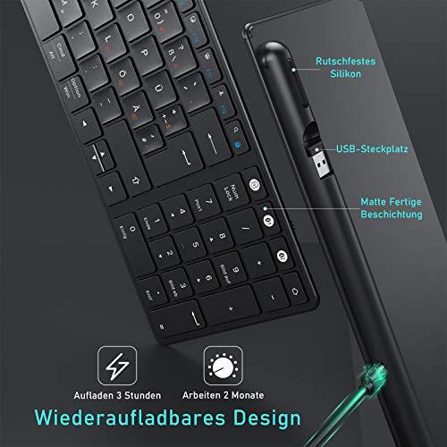 Funktastatur Bluetooth, Seenda Kabellose Tastatur Kompatibel mit Mac OS, 3 Kanäle (2.4G+BT4.0+BT4.0) Wiederaufladbar, QWERTZ Deutsches Layout für Tablet/Windows/Android/Microsoft, Schwarz