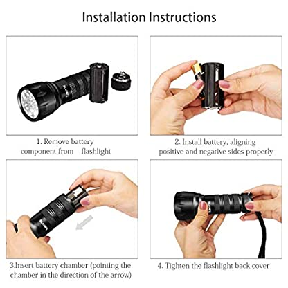 Waklyte Black Light, Mini UV Flashlight, 21 LED 395 nm Ultraviolet Blacklight Detector for Dog Urine, Pet Stains and Bed Bug (Battery Included) 6