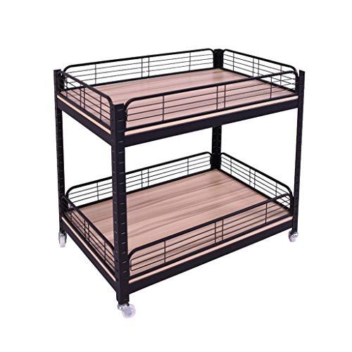 OCYE Storage Metal Shelf Wire Shelving Unit with wheels, 80 x 80 x 88 cm / 90 x 60 x 86 cm sturdy heavy duty 2-layer shelf with casters for restaurant kitchen shops